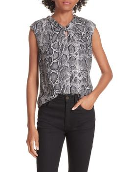 Snakeskin Print Silk Top by Rebecca Taylor