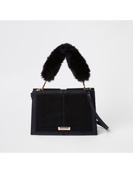 Black Snake Embossed Faux Fur Cross Body Bag by River Island