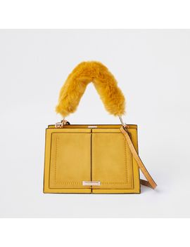 Yellow Snake Embossed Faux Fur Cross Body Bag by River Island