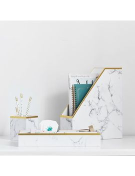 Paper Desk Accessories, Set Of 3, White Marble by P Bteen