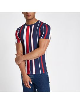 Red Vertical Stripe Muscle Fit T Shirt by River Island