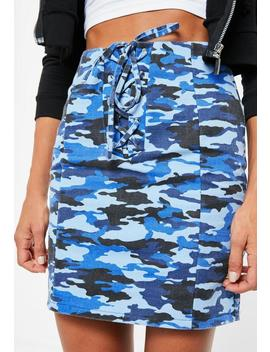Blue Lace Up Front Camo Mini Skirt by Missguided