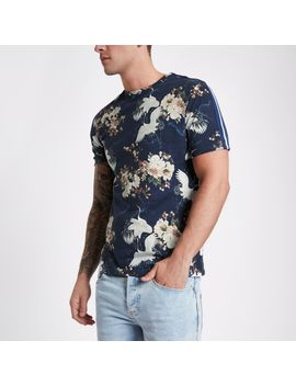 Blue Floral Bird Print Tape Slim Fit T Shirt by River Island