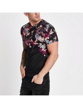 Black Muscle Fit Oriental Print T Shirt by River Island