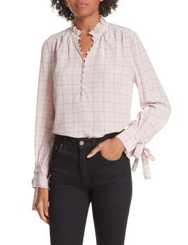 Plaid Ruffle Silk Blouse by Rebecca Taylor