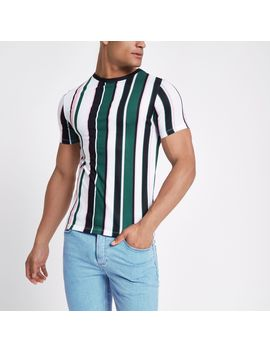 Green Stripe Crew Neck T Shirt by River Island
