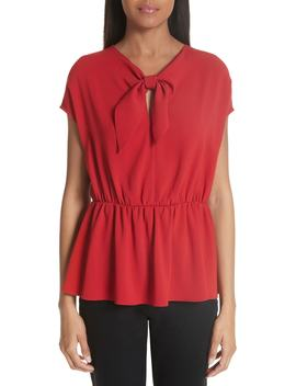 Tie Neck Crepe Blouse by Co