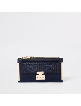 Navy Lock Pocket Front Foldout Purse                                    Navy Lock Front Snake Embossed Underarm Bag by River Island