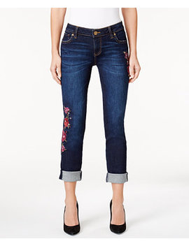 Petite Catherine Embroidered Boyfriend Jeans by Kut From The Kloth