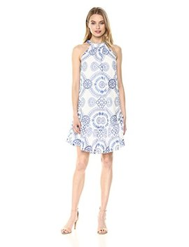 Trina Trina Turk Women's Kori Halter Drop Flounce Midi Dress by Trina+Turk