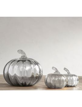 Mercury Recycled Glass Pumpkin, Small   Silver by Pottery Barn