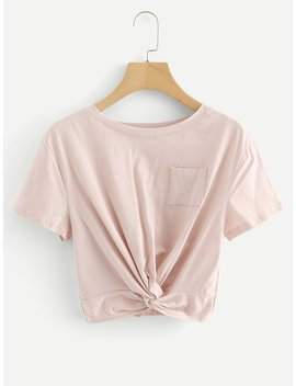 Chest Pocket Random Twist Crop Tee by Romwe