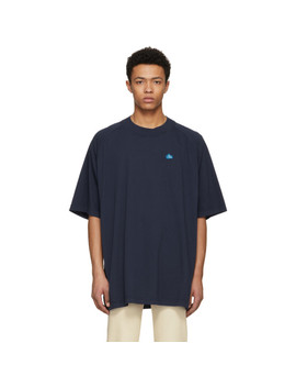 T Shirt Bleu Basset Badge by Acne Studios BlÅ Konst