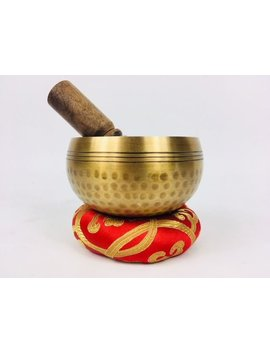 "3 1/2"" (Solar Plexus) Tibetan Brass Hammer Finished Sound Healing Singing Bowl   320g ॐ by Cultural Roots"