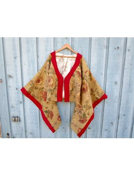 Shabby Chic Floral Kimono Jacket// Cabbage Roses// Large// Festival Duster// Warm Beige Multi Colored// Emmevielle by Emmevielle