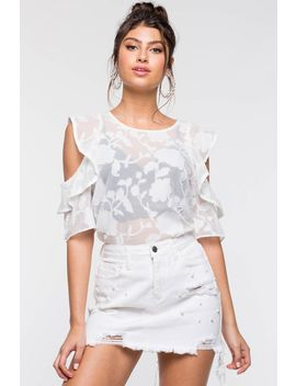 Flocked Floral Cold Shoulder Top by A'gaci