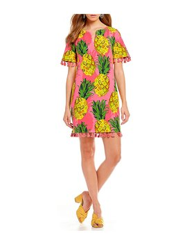 Raine Pineapple Print Tassel Trim Shift Dress by Generic