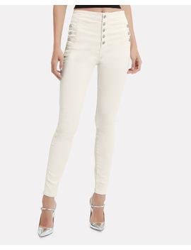 Natasha High Rise Coated White Skinny Jeans by J Brand