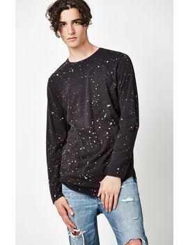 Alan Bleached Long Sleeve Scallop T Shirt by Pac Sun