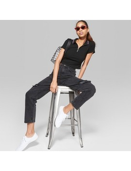 Women's High Rise Destructed Mom Jeans   Wild Fable™ Black Wash by Shop All Wild Fable™