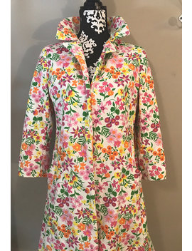 Vintage Multicolor Floral Heavy Cotton Coat Jacket With Lining   1970's   Mid Length by Staceys Hutch