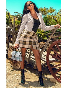 Black Check Wrap Tie Skirt by Prettylittlething