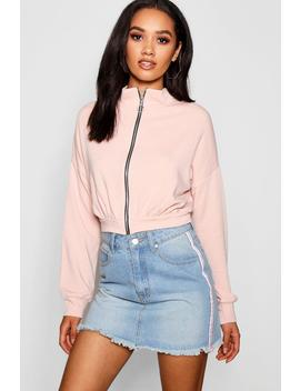 Petite O Ring Zip Through Bomber Jacket by Boohoo