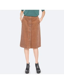 Women Corduroy High Waist Front Button Skirt by Uniqlo