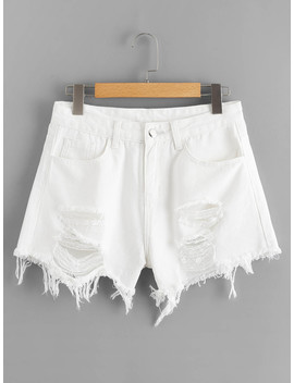 Solid Ripped Raw Hem Denim Shorts by Romwe