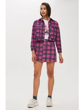 Pink Check Denim Co Ord Set by Topshop