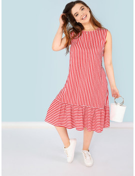 Plus Striped Flounce Hem Shell Dress by Shein