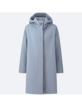 Women Lightweight Wool Blend Hooded Coat by Uniqlo