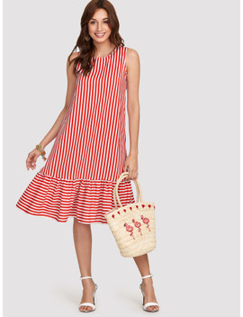 Pinstripe Ruffle Hem Swing Dress by Shein