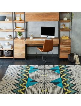 diamond-motif-wool-rug---blue-teal by west-elm