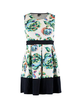 White Rose Print Scuba Skater Dress by Izabel London
