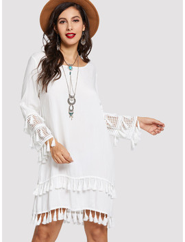 Contrast Lace Fringe Detail Dress by Sheinside