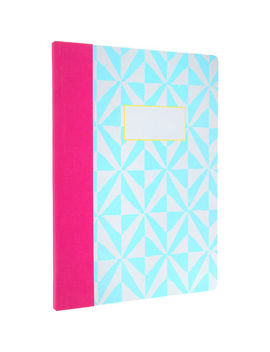 A4 Grey & Blue Checker Stamp Notebook by Ohh Deer Ltd