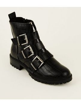 Black Snake Print Chunky Buckle Boots by New Look