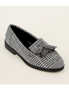 Black Check Printed Loafers by New Look
