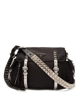 New Vela Leather Trimmed Cross Body Bag by Prada