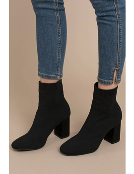Mia Erika Black Block Heel Sock Booties by Tobi
