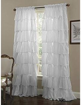Crushed Voile Sheer Shabby Chic Ruffle Window Curtain Panel (White, 60 Wx63 L) by Amazon