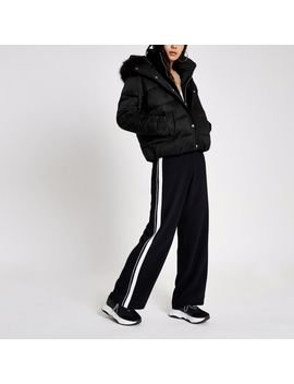 Black Faux Fur Hood Puffer Jacket by River Island