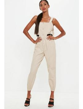 Beige Backless Utility Dunagree Jumpsuit by Missguided