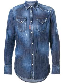 Studded Distressed Western Shirt by Dsquared2