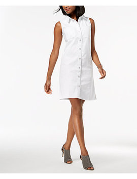 Petite Frayed Denim Sleeveless Shirtdress, Created For Macy's by Style & Co