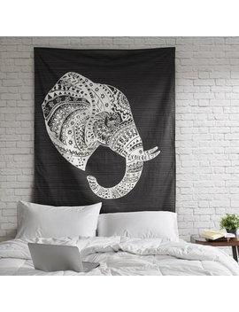 Tribal Elephant Cotton Print Decorative Wall Tapestry by Unbranded