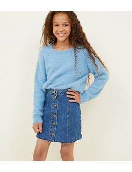 Girls Blue Button Front Denim Skirt by New Look