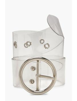 Clear Round Buckle Belt by Boohoo