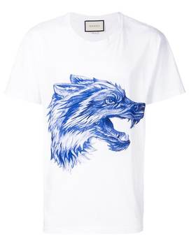 Gucci T Shirt Mit Wolf Print Home Herren Gucci Kleidung T Shirts'ace' Sneakers Mit Sternen T Shirt Mit Wolf Print by Gucci